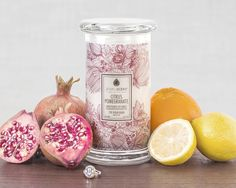 Enjoy the fresh scent of this delightful mixture of zingy citrus and luscious pomegranate. Find a hidden ring surprise worth $10 to $7500 in each of our hand-made, all natural soy candles.