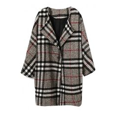 Plaid Print Lapel Single Button Woolen Coat (417.655 IDR) ❤ liked on Polyvore featuring outerwear, coats, lapel coat, tartan coat, plaid coat, wool coat and woolen coat