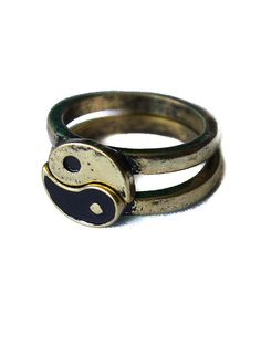 Gold Yin Yang Friendship ring Vintage overstock splits di MamaVava, $14.00