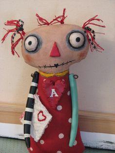 Soft Sculpture Primitive Folk Art Doll, Pat Beam Kildare