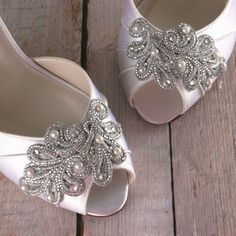 Ivory Wedding Shoes -- Ivory D'Orsay Style Kitten Heel Peeptoe Wedding Shoes with Silver Lace Applique by Ellie Wren Custom Wedding Shoes