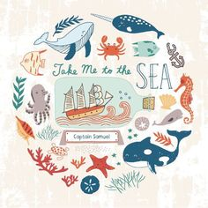 I enjoy drawing sea animals, ships, light houses and all other nautical related objects. There are so many possibilities with nautical art. I almost smelled the sea when I was creating this illustration. Meer Illustration, Kids Prints, Art Prints, 1 Tattoo, Nautical Art, Nautical Drawing, Sea Art, Am Meer, Art Graphique