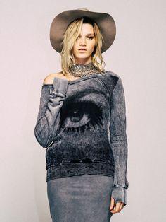 Pam & Gela Eye Hi Lo Sweatshirt + Side Riched Skirt |PamandGela.com#PamandGela