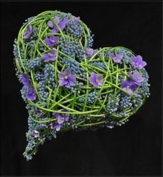 Muscari and violet heart