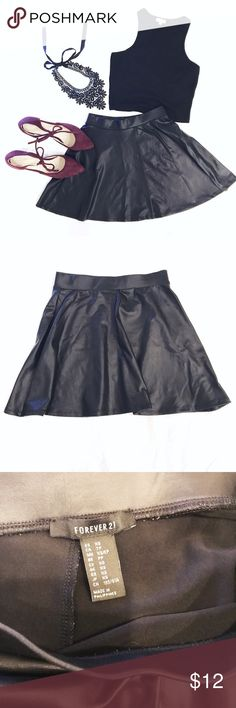 🆕 L I S T I N G F21 Pu Leather Black Skater Skirt Forever 21 • Black • Skater • Pu Leather • Skirt • Size XS • Excellent condition • worn only handful of times, hand washed • a must have in every closet • stretchy waistband - will fit an S as well • bundle and save • 💙✨ M A K E  A N  O F F E R ✨💙 • shoes also for sale in my closet Forever 21 Skirts Circle & Skater