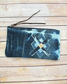 Denim bag Distressed denim purse Upcycled Dark Blue Denim Diamond Applique Tile Cosmetic Purse Bleached fabric Boho Clutch Bolso SaidoniaEco by SaidoniaEco on Etsy https://www.etsy.com/listing/229229818/denim-bag-distressed-denim-purse