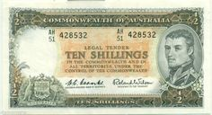 AUSTRALIA R17 PREDECIMAL NOTE 10/ 1954 RESERVE BACK  BANK  EF