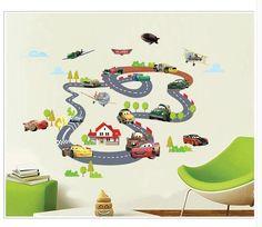 NEW Disney Cartoon lightning McQueen Cars HUGE Wall Stickers Kids Home Decor USA #Unbranded
