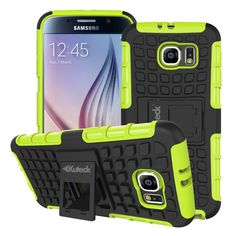 Samsung Galaxy S6 TPU Slim Rugged Hybrid Stand Case Cover Green
