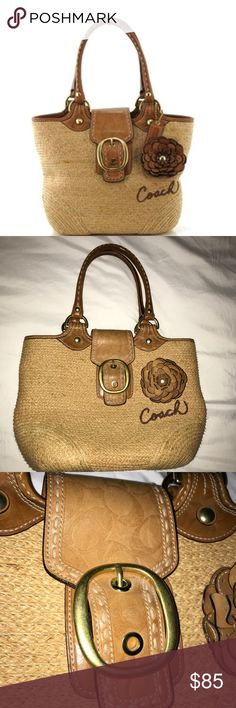 """Coach Bleeker Straw Flower Tote style 11798 Coach Bleecker Tote handbag in stylish Raffia straw.  Features gold-tone hardware, brown leather trim and accents, two rolled leather handles (8"""" drop), a brown leader flower accent, embroidered """"Coach"""" accent, and a flap top with a faux buckle and a magnetic snap closure.  Interior of handbag is fully-lined in Coach multi-color lining.  Size: 14.5 x 12 x 5.5  in 36.8 x 30.5 x 14  cm Color: Beige/Brown Price reflects authenticity Coach Bags"""