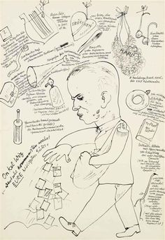George Grosz, Onkel wiz, c. 1922, reed pen and brush and india ink on paper, 15.87 X 23.25 in.