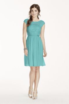 http://www.davidsbridal.com/Product_short-lace-and-mesh-dress-with-illusion-neckline-f17019_plus-size-bridesmaid-dresses