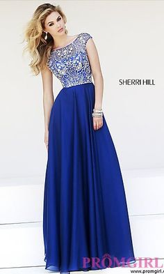Sparkle and shine in this exquisite cap sleeve gown from Sherri Hill.