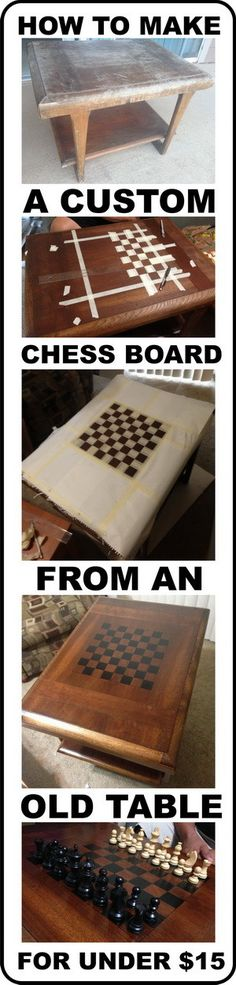 If you are an avid chess player and looking to make a custom diy chess board yourself, we have the perfect cheap solution below. By obtaining an old square table from a garage sale or from Goodwill, you can make your own for just about $15 dollars (not including the chess pieces). There are many … … Continue reading →