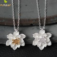 Flyleaf Hand Double Color Lotus Flower Necklaces & Pendants For Women Fashion Lady Prevent Allergy 925 Sterling-silver-jewelry