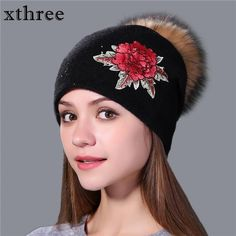 Winter wool knitted beanie cap embroidery flower with real mink fur pom pom 0a8d1f0fe7b5