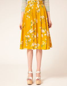 yellow floral skirt - so cheerful! not the shoes