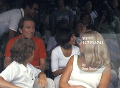 Interesting posturing for the RFK tennis tournament; front row Joan and son Ted, behind them (L to R) Andy Williams, Margaret Trudeau and Canadian Prime Minister Pierre Trudeau, and bringing up the rear Ethel Kennedy and behind her son Max and. Margaret Trudeau, Joan Bennett, Andy Williams, Ethel Kennedy, Jfk Jr, Tennis Tournaments, Music Icon, Classic Hollywood, Front Row