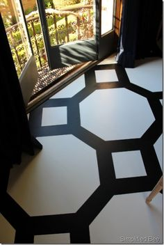 black and white geometric patterned floor