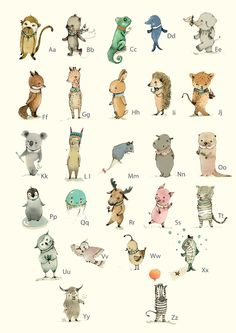 Tier-ABC Poster fürs Kinderzimmer, Illustration / illustrated artprint with animal alphabet, home decor for the nursery made by PaolaZakimi via DaWanda.com