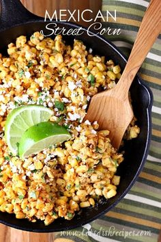 Mexican Street Corn Recipe: Grilled corn is tossed with mayonnaise, sour cream, lime juice and spices in this delicious Tex-Mex side dish (Torchy's Tacos copycat). Mexican Food Recipes, Vegetarian Recipes, Cooking Recipes, Healthy Recipes, Mexican Desserts, Juice Recipes, Cooking Tips, Mexican Drinks, Mexican Appetizers