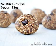 Healthy No Bake Cookie Dough Bite. Super simple recipe with only 4 ingredients. No added sugar. You will be amazed at how much it tastes like cookie dough! #vegan #glutenfree #nobake #healthy