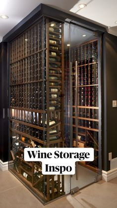 Glass Wine Cellar, Home Wine Cellars, Wine Cellar Design, Wine Cellar Modern, Wine Cellar Basement, Home Bar Designs, Wine Wall, Wine Rack Wall, Luxury Homes Dream Houses