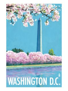 Washington DC vintage poster - Washington monument and Cherry Blossoms