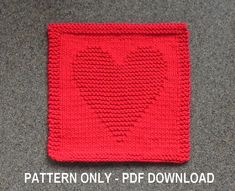 **THIS IS AN INSTANTLY DOWNLOADABLE PATTERN FOR KNITTING THE HEART PICTURED -- PDF FORMAT** The cloth pictured is NOT included but is what