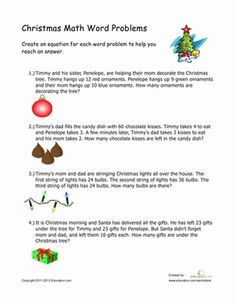 Christmas Second Grade Addition Subtraction Worksheets: Christmas Word Problems