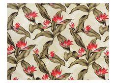 30polani Tropical Botanical Vintage Hawaiian Fabric bird of paradise, apparel cotton, Hawaiian vintage style fabric.
