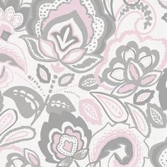 Pink and Gray Jacobean Fabric  By The Yard  by CarouselDesignsShop