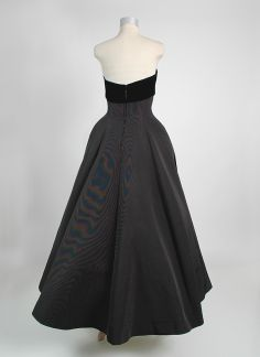 1950's Helena Barbieri Faille and Velvet Evening Gown