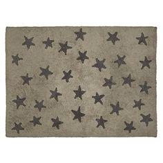 EN SOLDES – Tapis de sol enfant 120×160 cm lin étoiles grises