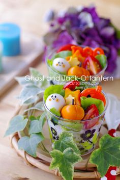 Ghost and Jack-o-lantern bento cups for Halloween Cute Food, Good Food, Funny Food, Bento Kawaii, Bento Recipes, Bento Ideas, Cute Bento Boxes, Spooky Food, Healthy School Lunches