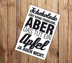 Humor - ✪ Postkarte 'Schoko-Apfel' ✪ - ein Designerstück von Wdrei10 bei DaWanda