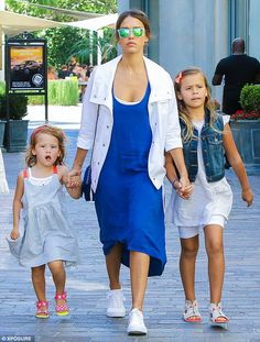 Jessica Alba with her daughters,Honor Marie, seven, and Haven, three. - In Los Angeles.  (12 July 2015)