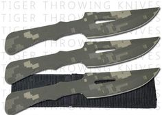 3 Pc Digital Camo Throwing Knife Set. 3 Pc Digital Camo Throwing Knife Set3 pcDigital Throwing Knife Set made in China Overall Length 6 Nylon Sheathholds all 3 in seperate pockets Solid One Piece Stainless Steel Construction Blade: Stainless Steel Digital Camo Finish, Sharp