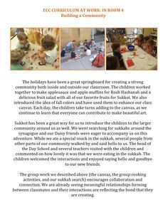 ECC CURRICULUM AT WORK: IN ROOM 4 Building a Community: Room 4 is focusing on group work to encourage collaboration and connection...