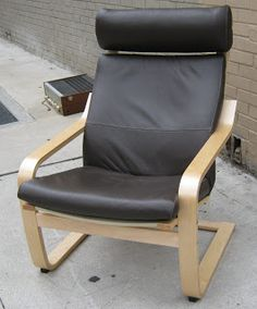 Ikea Poang Chair Brown Leather Poang Chair