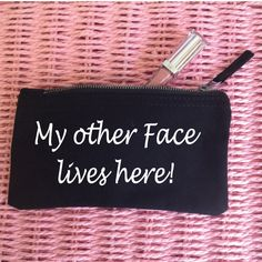 My other Face lives here. Funny Makeup Bag. Accessory Bag. Jewelry Pouch. Coin Purse. Pencil Case. Cosmetic Bag. Funny MakeUp Slogan by SoPinkUK on Etsy