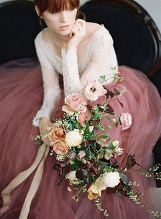 26 Must See Hottest Mauve Wedding Decorations for Your Upcoming Day-elegant mauve wedding dresses Mauve Wedding, Blush Pink Weddings, Colored Wedding Dresses, Autumn Wedding, Rose Wedding, Floral Wedding, Wedding Colors, Dream Wedding, Wedding Skirt