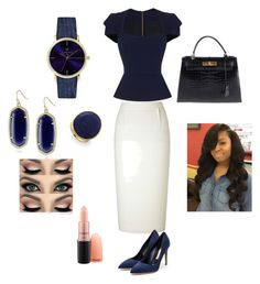 """""""Working Woman"""" by keshia1226 on Polyvore featuring Roland Mouret, Rupert Sanderson, Hermès, Laruze, Kendra Scott, Marco Bicego and MAC Cosmetics"""