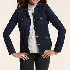 """Chico's Utility Denim Jacket CHICO'S FEMININE DENIM UTILITY JACKET Snappy silver utility details. Chico's fab forever favorite. Exclusive online, sold out. Chico's size 0 / regular size 4-6 Chest and hand pockets.  Length: 24""""  76% cotton, 22% polyester, 2% spandex. Chico's Jackets & Coats Jean Jackets"""