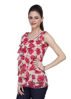 LadyIndia.com # College Wear, Pink Color Georgette Floral Print Sleeveless Round Neck Printed Casual Top, Casual Wear, Summer Wear, College Wear, New Fashion Trend, https://ladyindia.com/collections/western-wear/products/pink-color-georgette-floral-print-sleeveless-round-neck-printed-casual-top?variant=32474390029