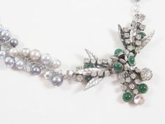 Choker style necklace with vintage rhinestone pendant, green jade and glass pearls by JMarieOfAtlanta, $72.00