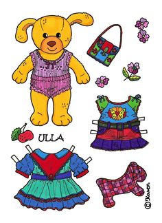 Karen`s Paper Dolls: Ulla Paper Doll to print in Colours. Ulla påklædningsdukke til at printe i farver.