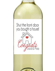 New Home Congrats on New Home Housewarming Wine Bottle Labels DIY Printable Customized Personalized on Etsy, $2.99