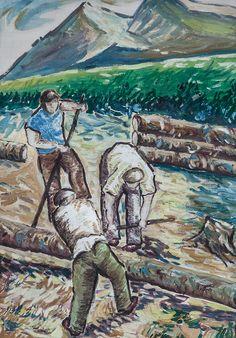 Drevorubači, olej na kartóne 70 x 50 cm, Pavel Huszár, Banská Bystrica, Slovakia