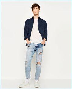 Zara Man Ripped Denim Jeans